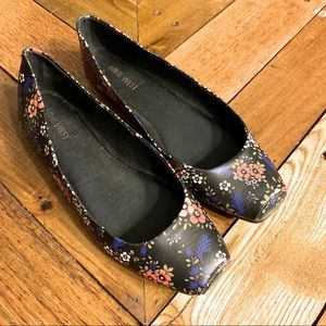 Nine West Black Floral Ballet Flat Shoes Size 8